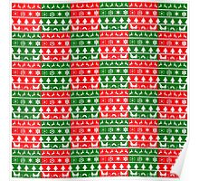 Red, White and Green Christmas Nordic Knit Checkered Fair Isle Pattern Poster
