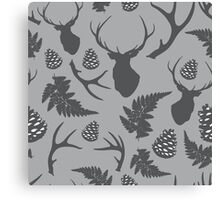 Forest pattern with deer, antler, pine cones and fern Canvas Print