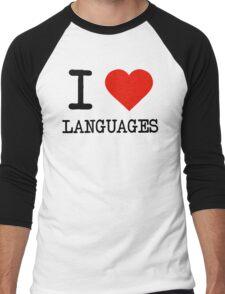 I Love Languages Men's Baseball ¾ T-Shirt