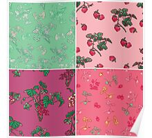 Decorative Berries Pattern Collection Poster