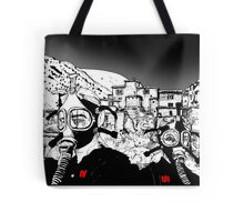Two girls in gasmasks Tote Bag