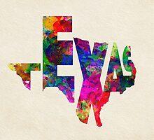 Texas Typographic Watercolor Flag by A. TW