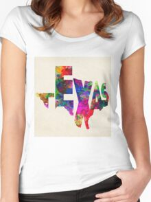 Texas Typographic Watercolor Flag Women's Fitted Scoop T-Shirt