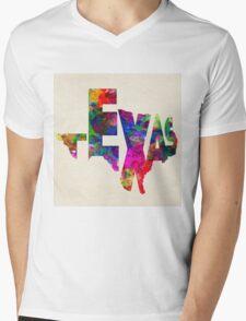Texas Typographic Watercolor Flag T-Shirt