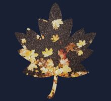 Gold yellow maple leaves autumn asphalt road One Piece - Short Sleeve