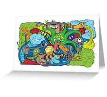 doodle of crazy sea-life creatures having fun 2 Greeting Card