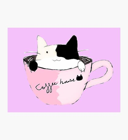 coffee house cat Photographic Print