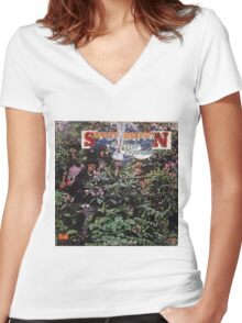 Savoy Brown A Step Further Women's Fitted V-Neck T-Shirt