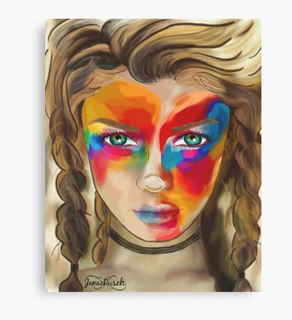 Colored Chalk Face Canvas Print