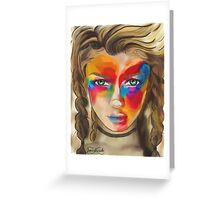 Colored Chalk Face Greeting Card