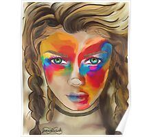 Colored Chalk Face Poster