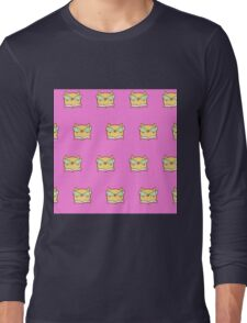 Cute,pink,cool cat with glasses, geek cat pattern, modern,trendy,hipster,fun,happy,cool,kid,kids,children,girly Long Sleeve T-Shirt