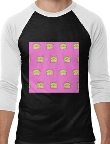 Cute,pink,cool cat with glasses, geek cat pattern, modern,trendy,hipster,fun,happy,cool,kid,kids,children,girly Men's Baseball ¾ T-Shirt