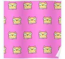 Cute,pink,cool cat with glasses, geek cat pattern, modern,trendy,hipster,fun,happy,cool,kid,kids,children,girly Poster