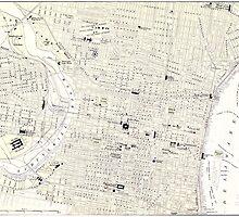 Vintage Map of Philadelphia (1885) by BravuraMedia