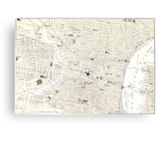 Vintage Map of Philadelphia (1885) Canvas Print
