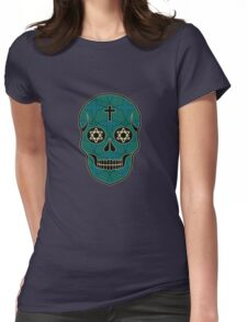 The pattern with skulls. Day of the Dead Womens Fitted T-Shirt