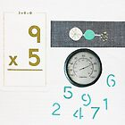 Numbers Game. Pale aqua. Olive. by Jenny Davis