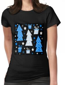 Blue playful Xmas Womens Fitted T-Shirt