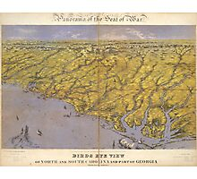 Vintage Pictorial Map of North Carolina (1861)  Photographic Print