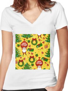 Happy new year pattern with Santa Claus, christmas tree, gifts, bell, stars, wreath. Funny pattern on a yellow background. Women's Fitted V-Neck T-Shirt