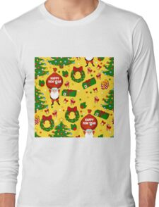 Happy new year pattern with Santa Claus, christmas tree, gifts, bell, stars, wreath. Funny pattern on a yellow background. Long Sleeve T-Shirt