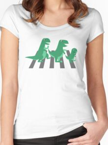 Funny T-rex family crossing Women's Fitted Scoop T-Shirt