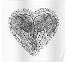 One Love Elephants Drawing Poster
