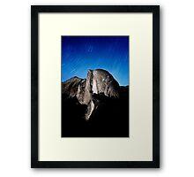 Stars trails over Half Dome Framed Print