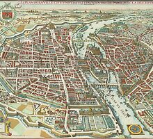 Vintage Pictorial Map of Paris (1615) by BravuraMedia