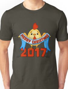 Cartoon New Year card with funny rooster on a white background. Isolated cock vector illustration. Vector illustration of rooster, symbol of 2017 on the Chinese calendar. Unisex T-Shirt
