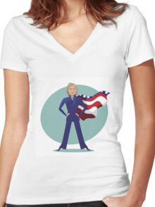 cartoon of Hillary Clinton as a super hero. Women's Fitted V-Neck T-Shirt