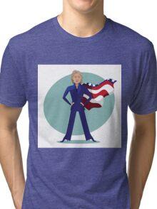 cartoon of Hillary Clinton as a super hero. Tri-blend T-Shirt