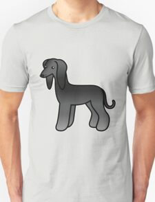 Black Afghan Hound Cartoon Dog T-Shirt