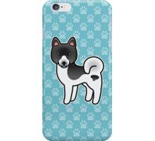 Black Pinto Akita Dog Cartoon iPhone Case/Skin