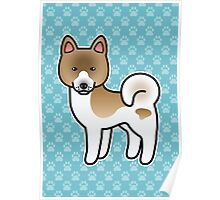 Brown Pinto Akita Dog Cartoon Poster