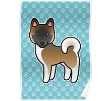 Brown With Black Mask Akita Dog Cartoon Poster