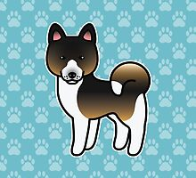 Hound Tricolor Akita Dog Cartoon by destei