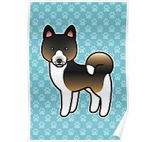 Hound Tricolor Akita Dog Cartoon Poster