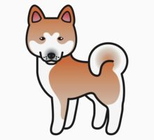 Red With White Mask Akita Dog Cartoon by destei
