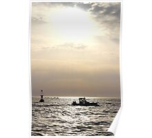 The Boat and the Fading Sun - Bay of Arcachon, France. Poster