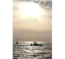 The Boat and the Fading Sun - Bay of Arcachon, France. Photographic Print
