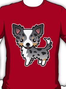 Blue Merle Long Coat Chihuahua Cartoon Dog T-Shirt