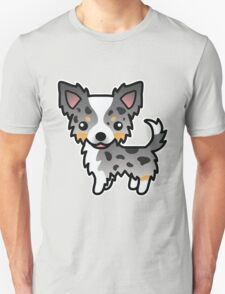 Blue Merle Long Coat Chihuahua Cartoon Dog T-Shirt