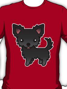 Black Long Coat Chihuahua Cartoon Dog T-Shirt