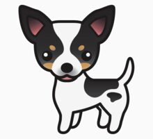 White Tricolor Smooth Coat Chihuahua Cartoon Dog by destei