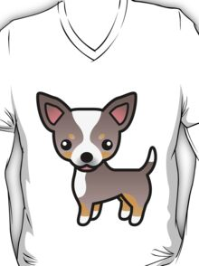 Lavender Tricolor Smooth Coat Chihuahua Cartoon Dog T-Shirt