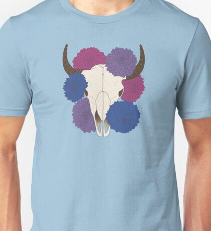 flowering bi pride cow skull Unisex T-Shirt