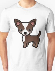 Chocolate And White Smooth Coat Chihuahua Cartoon Dog T-Shirt