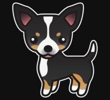 Black Tricolor Smooth Coat Chihuahua Cartoon Dog by destei
